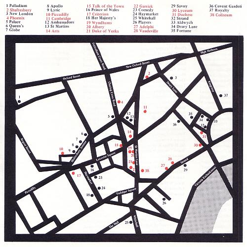 Map of Theatreland in 1972 with proposed Theatre demolitions marked in red.